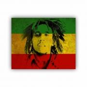 Quadro Bob Marley Bandeira Jamaica Cores - Tela Única