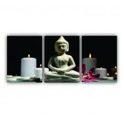 Quadro Buda Preto e Branco Moderno - Kit 3 telas