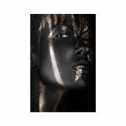 Quadro Mulher Black and Gold Preto e Dourado 3 - Tela Única