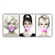 Kit Audrey e Marilyn e Bridgte Chicletes Bulble Gum - 3 telas