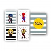 Kit Heróis Cute Infantil Menino - 5 telas