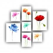 Kit Quadros Flores Coloridas  - 7 telas
