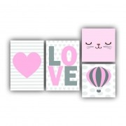 Kit Rosa Love Infantil Menina - 4 telas