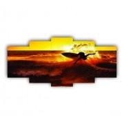 Mosaico Decorativo Surf Entardecer - 5 Telas