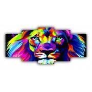Mosaico Leão Colorido - Kit 5 telas