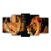 Mosaico Leão e Cruz Jesus - Kit 5 telas