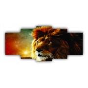 Mosaico Leão Paisagem Céu - 5 Telas