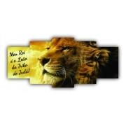 Mosaico Leão Rei da Tribo de Judá Frase - Kit 5 telas