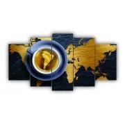 Mosaico Mapa Mundi Azul e Dourado - 5 Telas