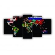 Mosaico Mapa Mundi Bandeiras Países - 5 Telas