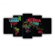 Mosaico Mapa Mundi Nomes Países Colorido - 5 Telas