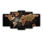Mosaico Mapa Mundi Preto e Dourado Luxo - 5 Telas