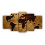 Mosaico Mapa Mundi Rustico - 5 Telas