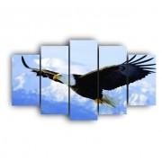 Mosaico Quadro Decorativo Águia Paisagem - 5 Telas
