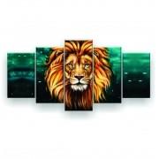 Mosaico Quadro Decorativo Leão Verde Colorido - 5 Telas
