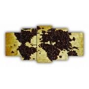 Mosaico Quadro Decorativo Mapa Mundi Grãos de Café - 5 Telas