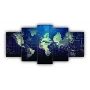 Mosaico Quadro Decorativo Mapa Mundo Luxo Azul - 5 Telas