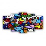 Mosaico Quadro Decorativo Vitral Colorido - 5 Telas
