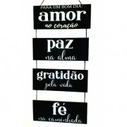 Placa Decorativa - Amor Paz Gratidão e Fé