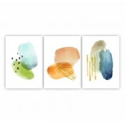 Quadro Abstrato Aquarela Cores - Kit 3 telas