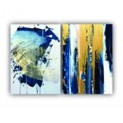 Quadro Abstrato Azul e Dourado Luxo -  Kit 2 telas