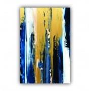 Quadro Abstrato Azul e Dourado Pinceladas Impacto de Luxo - Tela Única