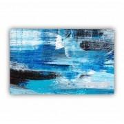 Quadro  Abstrato Azul Preto e Branco Impacto Horizontal - Tela Única