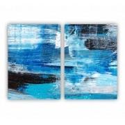 Quadro Abstrato  Azul Preto e Branco Moderno Luxo - Kit 2 telas