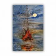 Quadro Abstrato Barco Caravela Contemporâneo - Tela Única