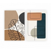 Quadro Abstrato Bojo Costela Adão Luxo - Kit 2 telas