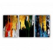 Quadro Abstrato Colorido Dourado Luxo - Kit 3 telas