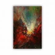 Quadro Abstrato Contemporâneo Cores Impacto Vermelho Preto - Tela Única