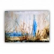 Quadro  Abstrato Cores Nude Azul Contemporâneo - Tela Única