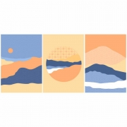 Quadro Abstrato Cores Nude Rosa e Azul Montanhas - Kit 3 telas