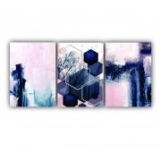 Quadro Abstrato Delicado Azul e Rose - Kit 3 telas