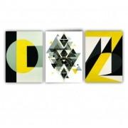 Quadro Abstrato Geométrico Amarelo Preto e Cinza  - Kit 3 telas