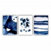 Quadro Abstrato  Geométrico Azul Pinceladas de Tranquilidade - Kit 3 telas