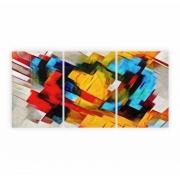 Quadro Abstrato  Geométrico Cores Geométricas Texturas  - Kit 3 telas