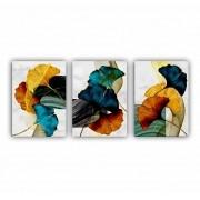 Quadro Abstrato Geométrico Folhas Luxo - Kit 3 telas