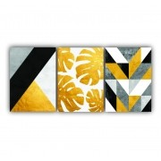 Quadro Abstrato Geométrico Moderno Yellow and black  - Kit 3 telas