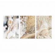 Quadro Abstrato  Ouro Dourado e Branco  - Kit 3 telas