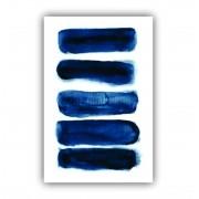 Quadro Abstrato Pinceladas em Azul Cores Vivas - Tela Única