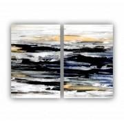 Quadro Abstrato Pintura Preto Branco e Dourado Moderno - Kit 2 telas