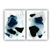 Quadro Abstrato Preto Azul e Branco Moderno -  Kit 2 telas