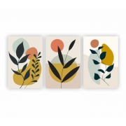 Quadro Abstrato  Tropical Delicado Folhas - Kit 3 telas