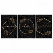 Quadro Amor Fé e Gratidão Preto e Dourado - Kit 3 telas
