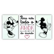 Quadro Amor Mickey e Minnie Casal - Kit 3 telas