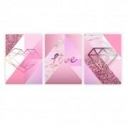 Quadro Amor Rosa Geométrico - Kit 3 telas