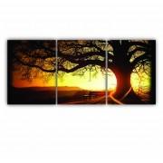 Quadro Árvore da Vida Entardecer - Kit 3 telas