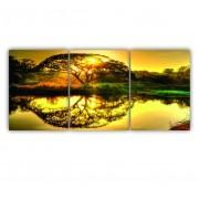 Quadro Árvore da Vida Refletido Ouro - Kit 3 telas